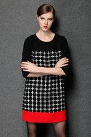 2015 brand higth quality antumn winter fashion women plaid three querter sleeve A line casual dress work dress plus size M-5XL