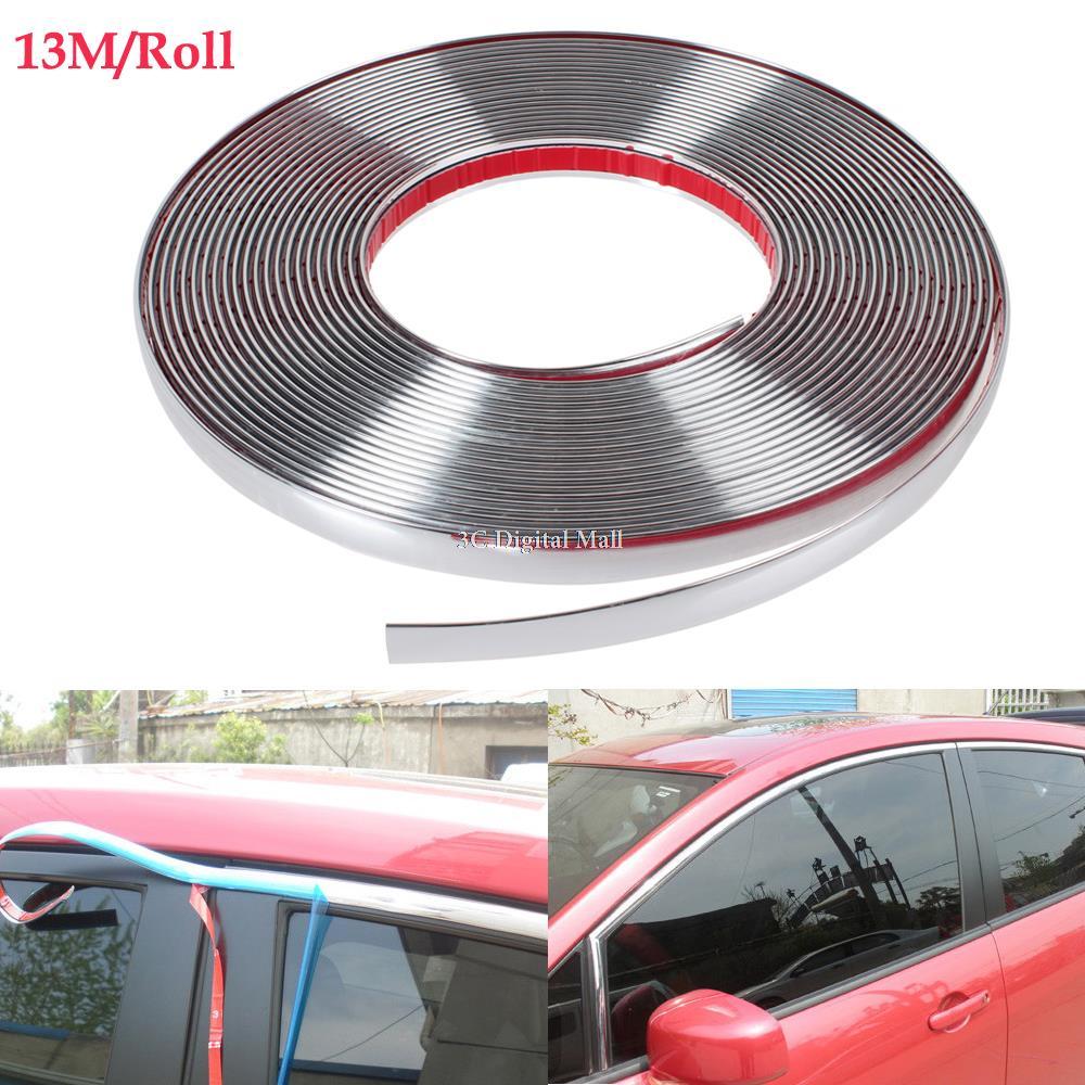 13m DIY Car Styling Door Moulding Trim Automotive Car Sticker Chrome Strip 6MM 8MM 10MM 12MM 15MM 18MM 20MM 25MM 30MM(China (Mainland))
