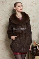 Natural Fur women Rex Rabbit Fur coats with Natural Fox Fur Collar