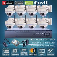 3TB HDD 8CH H.264 NVR Network CCTV System Onvfi 2.0 Megapixel 1080P HD 25fps Vandalproof Dome IR Wireless WIFI Network IP Camera