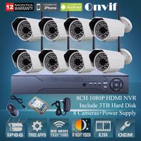 3TB HDD Onvif 8CH H.264 NVR Security CCTV System 2.0 Megapixel 1080P HD Waterproof Outdoor IR Wireless WIFI Network IP Camera