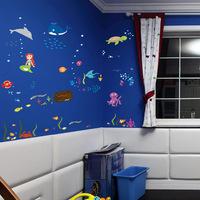 Sea World children's playgroup kindergarten arrangement background decoration removable wall sticker DF5077,60*90CM