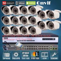 Onvif 16CH H.264 NVR 2.0 Megapiexl 1080P HD 25fps 48 IR Waterproof Network POE IP Camera CCTV System 24CH POE Switch 6TB HDD