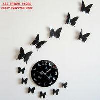 New 2015 Wall Clock Modern Design Luxury Mirror Wall Clock 3D Crystal Mirror Wall Watches Wall Clocks 12 Butterflies