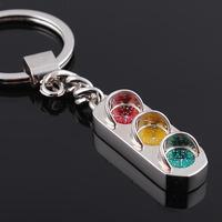 Free shipping Cool Creative Cute Traffic Light Design Alloy Key Ring, Versatile Metal Key Chain Key light