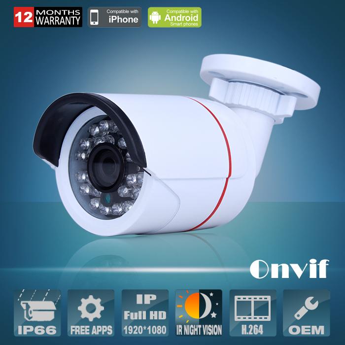 New!1080P Full HD CCTV Camera CMOS Sensor Onvif H264 25fps 2MP Network IP Camera Security Waterproof 24 IR Camera Free Shipping(China (Mainland))