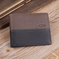 New Nice High Quality Geniune Cow Leather Cowhide Men's wallet Fashion bank credit card holder purse wallet Free shipping