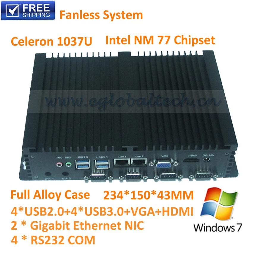 Kiosk PC 4RS232 COM+Dual 82574L Lan+4USB3.0+4USB2.0 Eglobal Fanless Multimedia PC Windows Celeron 1037U Industrial Zero Client(China (Mainland))