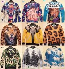 [Magic]2014 Hot ! Animal print casual hoodies long sleeve o neck 3D sweatshirts men sweatshirt 21models size S-XL free shipping(China (Mainland))