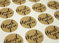 "3.8cm round paper kraft self adhesive Label Stickers with ""Thank You"" printing 600pcs Free Shipping"
