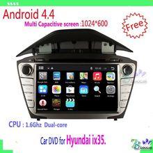 1024*600 2 din Pure Android 4.4 Car DVD For Hyundai ix35. with WIFI 3G GPS USB Capacitive screen Car radio car Audio car stereo