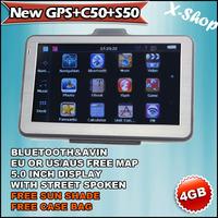 X-SHOP New GPS+C50+S50 navigator 5 inch BLUETOOTH+4GB MAP+HARD CASE+SUN SHADE,Touch Screen, Mp3/Mp4, Photo Viewer,vehicle gps