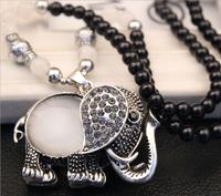 Womens jewellery Silver OPal Elephant Pendant Necklace Black Bead Long Necklace Vintage Long Chain