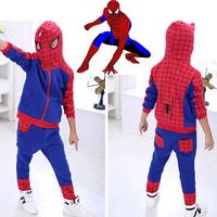 muscle cosplay homem aranha Spiderman Children Clothing suits superman hoodie jacket pants Captain America halloween costume boy