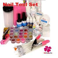 New Pro Pink White Clear UV Gel Nail Topcoat Cleanser Plus Nail Painting Pen Nail Art Powder Glitter Rhinestone Nail Tool Set