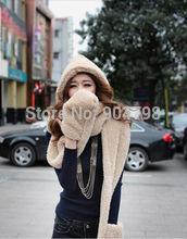 Women's Fashion Winter Woolen Cap With Scarf Gloves Hat Accessories Set 3 in 1(China (Mainland))