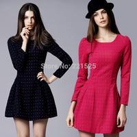 New Arrival 2014 Fashion Women Winter Wolen Dot Dress Long Sleeve Plus Size S-XXL Casual Dress Vestidos Women Free Shipping