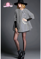 NEW 2015 Haute Couture Europe & US Noble Style women winter coat HOUNDSTOOTH star loose  coat