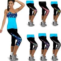 New Arrival Capri  Women Leggings High Waist Patch Work Workout Fitness Women Legging Yoga Pant Gym Wear 2 Sizes Free Shipping