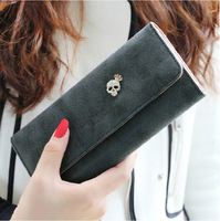 new hot fashion big sale women lady girl frosted diamond skull long wallet coin purse card holders handbag holiday gift PU