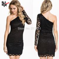 New 2015 Elegant One Shoulder Sexy Lace Mini Dress Black Sheath Lace Hem Party Gown Plus Size XS-XXL Dresses For Women J14120208