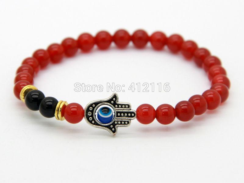 Women's Beaded Bracelets 2014 Wholesale New Design 6mm A Grade Natural Red Agate Beads Hamsa Fatima Hand Bracelets(China (Mainland))