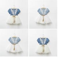 EMS DHL free shipping cotton denim dress for girl casual dress white lace dresses girl costume dressed infantis girls clothing