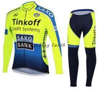 Free shipping! SAXO BANK 2014 long sleeve autumn bib cycling wear clothes bicycle bike cycling jersey bib pants set+gel pad