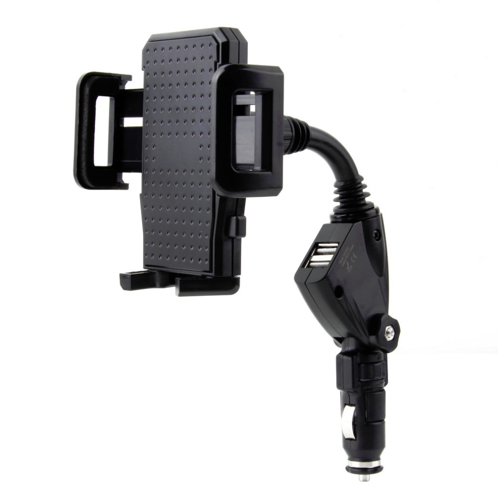 Universal Dual USB 2 Port Car Charger Cell Phone Mount Stand Holder for Mobile Phones GPS