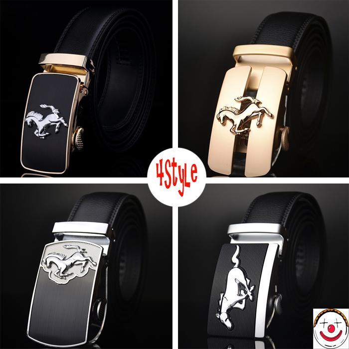 2015 men's belt genuine leather belts 4 styles new arrive horse buckle belt for men(China (Mainland))