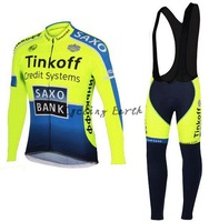 Free shipping! SAXO BANK 2014 Winter long sleeve clothes cycling jersey+bib pants bike bicycle thermal fleeced wear set