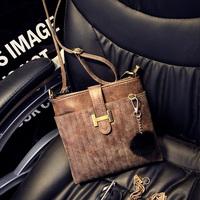 Fashion 2015 winter rabbit fur ball vintage sewing thread chain scrub one shoulder cross-body women's handbag small bag l1416