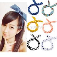 Sweet Cute Lady Girls Rabbit Ear Headband Ribbon Chiffon Headband Hair Band Polka Dot/Stripe Fashion Summer Beach Hair Jewelry