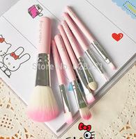 10pcs/bag Sweet Pink Hello Kitty Cosmetic Brush Set (7 pcs/set ) Makeup Brushes Set PVC packing