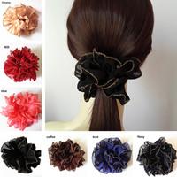 Hotsale Big Black Flower Elastic Hair Ties/ Hair Ropes for Women Fashion Hair Accessories 2 colors