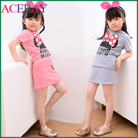 2015 New Girl Cartoon Set Children Short Sleeve Cotton Character Clothes Set Pink Gray For 2-7 Year Free Shipping 51TF