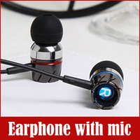 3.5mm In-ear Metal Headphone Earphone with mic microphone For MP3 Iphone Samsung HTC Mobile Phone