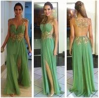 Hot Sale 2014 Side Slit Lace Evening Dresses Sweetheart Chiffon Long Party Dresses Formal Elegant Gown Vestido de noite TQ-013