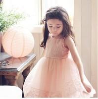 Fashion Summer Kid Clothing Korean Lace Tulle Tutu Dresses Children Lace Sleeveless Vest Dresses Sundress Princess Dress B003