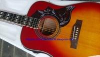 Cherry Red Acoustic Guitar W/O pickups Guitar 41'' humming birds Acoustic guitar