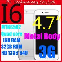 Aluminum body i6 Smartphone 4.7''Android 4.4 i0S8 Quad core MTK6582 Mobile phone 2GB RAM 32GB ROM 8MP 1280*720 3G WCDMA GPS+Case