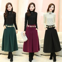 New Arrival 2014 Autumn Winter Women Foot Length Skirt Woolen Party Skirt Feminine 3Colour S-XL Free Shipping
