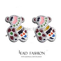 2015 Sweet best joyas titanium steel brincos ouro pendientes bijoux to.us bear channel stud earrings for women cc pequenos