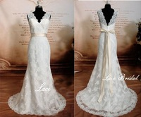 2015 Hot Sale Simple Elegant A-Line Wedding Dress V-Neck Floor-Length Sleeveless Backless with Bow Lace Wedding Dress ZY004