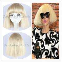 29cm short taro Lady Gaga wig 100% high temperature fiber women fashion hair wig black and blonde color+ free wig cap