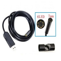 Free Shipping 7mm Lens USB Endoscope 6 LED IP66 Waterproof tool Camera Endoscope 5M inspection borescope with Mini Camera Mirror
