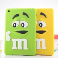 Kids Shockproof Cover Cute Rubber Rainbow Candy 3D Cartoon M&M Chocolate Bean Silicone Case for ipad mini 3/2/1 free shipping