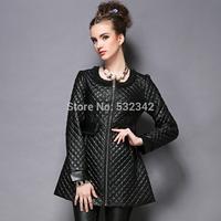 2014 Hand-beaded chiffon stitching round neck plus size PU coat fashin black PU leather overcoat l,xl,xxl,xxxl.xxxxl,xxxxxl