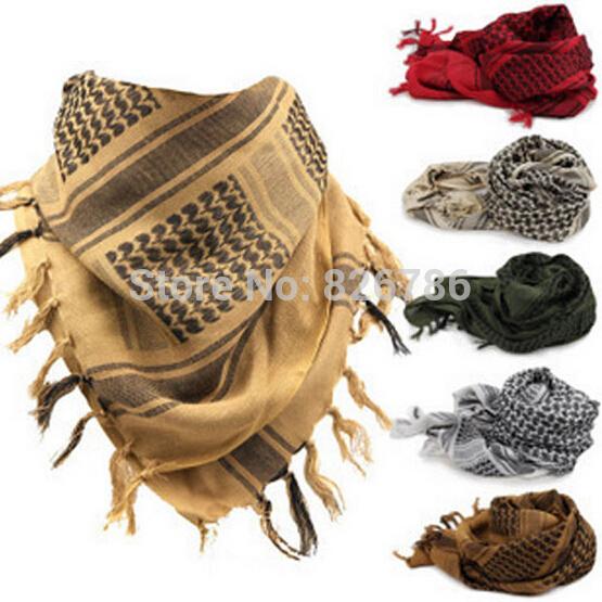Military Windproof Winter Scarf Men Muslim Hijab Shemagh Tactical Shawl Arabic Keffiyeh Scarves 100% Cotton Fashion Scarf Women(China (Mainland))