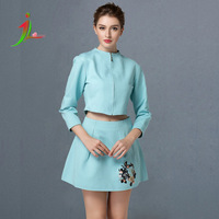 Top quality new major spring and autumn embroidered  dress high-end fashion two piece suit female elegant dress WT0014